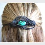 Šperky a bižuterie: Spona do vlasů 6 cm - malachit