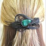 Šperky a bižuterie: Spona do vlasů 8 cm - malachit
